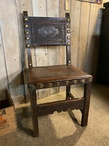 Leather and oak hall chair