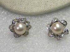 Vintage Silver Tone 8mm Faux Pearl & Rhinestone Clip Stud Earrings