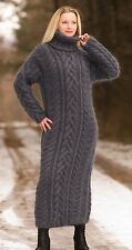SUPERTANYA BLUISH GRAY Hand Knitted Mohair Sweater Dress Handcrafted Robe
