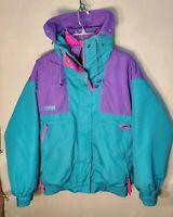 Vtg. COLUMBIA Womens M Vamoose Fleece Lined Jacket Coat Ski 90s Purple Pink Teal