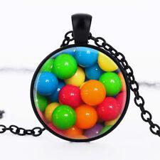 Sugar Candy photo dome Black Cabochon Glass Necklace chain Pendant