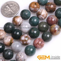 Natural Multi-Color Ocean Jasper Crystal Round Gemstone Beads For Jewelry Making