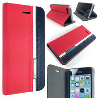 Red/Blue Designer Apple iPhone SE 5/5S Slim Folio Wallet Protector Case Cover