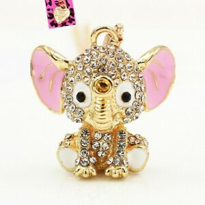 Betsey Johnson Elephant Crystal Baby Pink Ears 3D Pendant Necklace Free Gift Bag