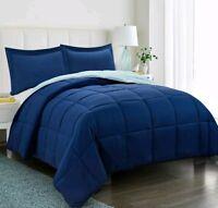 3pc Down Alternative Comforter Set Navy QUEEN  Reversible  Quilted Duvet Bedding
