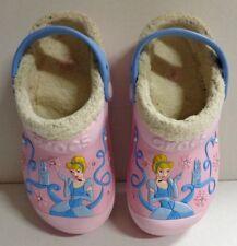Crocs Disney Princess Cinderella Pink Lined Clogs Shoes Size J 1