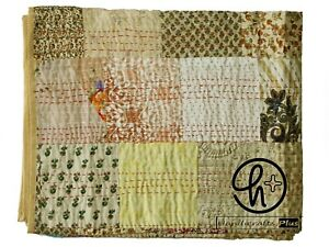 New Silk Biege Kantha Quilt Patchwork Patola Bedsheet Bohemian Gudari Twin/ King