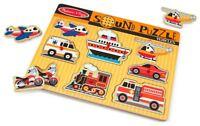Melissa & Doug VEHICLES SOUND PUZZLE Pre-School Wooden Toys Games BN