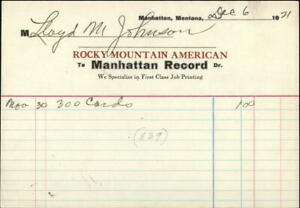1921 Manhattan Montana (MT) Receipt Rocky Mountain American Lloyd Johnson