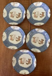 "Lot Of 5 ""Little Bear Natural Sweet Friends ""Plate ceramic teddy bears 4 3/4"""