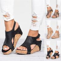 Stylish Women Wedge Heels Ladies Summer Platform Sandals Open Toe Shoes Size