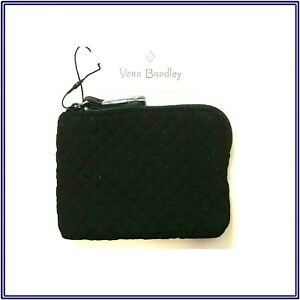 NWT Vera Bradley Iconic Coin Purse Zip Pouch Case Wallet Bag in Classic Black