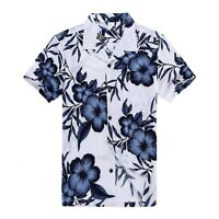Plus Size 4X 5X 6X Men Hawaiian Shirt Luau Aloha Cruise White Navy Floral