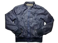 Guess Mens Bomber Jacket Size S Lined Windbreaker Designer Faux Leather