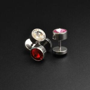 Fake Ear Stretcher Plug Earrings Surgical Steel Fake Gauge Plug With Gem Inlay