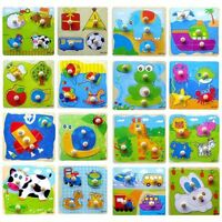 Cartoon Wooden Puzzle Jigsaw Baby Toddler Early Learning Educational Toys Useful