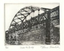UNDER THE BRIDGE etching of Pittsburgh
