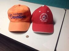 RARE 2 Vintage CLEVELAND INDIANS & CAVALIERS hats major league lebron james osu