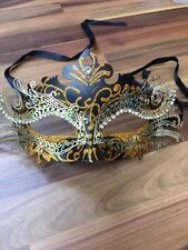 Masquerade Mask Venetian Filigree Gold / Black Metal Diamonte Ball Prom Party