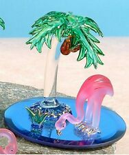 "Pink Flamingo Figurine Glass Palm Tree 3.5"" High New in Box Tropical Bird"