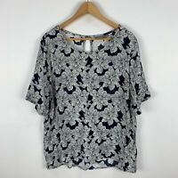 Sussan Shirt Top Womens 18 Plus Grey Floral Short Sleeve Round Neck