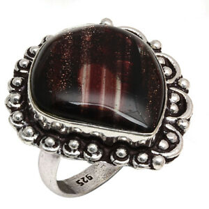 "Copper Rutile Gemstone Handmade Unisex Adult 925 Silver Jewelry Ring ""7.5"""