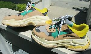 Balenciaga TRIPLE S Sneaker EU 44 Men's US 11 Italy Beige Green Yellow Used