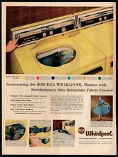 1958 RCA WHIRLPOOL WASHER- Yellow- Clothes- Washing-  Retro VINTAGE AD