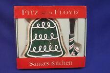 Fitz & Floyd Santas Kitchen Bell Christmas Cookie Plate Candy Cane Spreader Nib