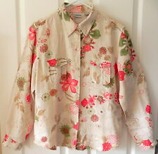 Chico's 100% Linen Long Sleeve Button Front Shirt Blouse Chico's 1 Womens 8 -10