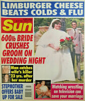 Sun Magazine January 1995 Tabloid 600lb Bride Limburger Cheese Cold Flu Baby NM