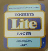 VINTAGE AUSTRALIAN BEER LABEL - TOOHEYS LITE LAGER 740 ML