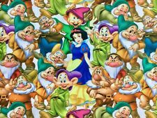 FQ Disney Princesa Blancanieves y los siete enanitos Poli Algodón Tela carácter