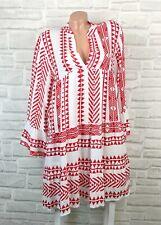 Italy Hippie Boho Hängerchen Tunika Kleid Azteken Muster 38 40 42 Weiß Rot K633