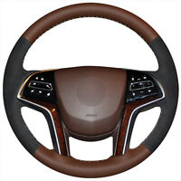 Top Leather Steering Wheel Hand-stitch on Wrap Cover For Cadillac SRX 2013-2015