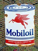 VINTAGE MOBILOIL PORCELAIN METAL CAN SIGN MOBIL OIL LUBE GAS STATION PETROLIANA