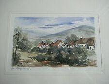 Un village caché aquarelle signée BOUFFARD élève de Marcel JACQUE école Barbison