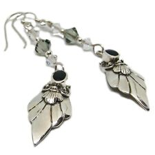 Reclaimed Treasures--Swarovsky & Onyx Sterling Silver Earrings By SoniaMcD