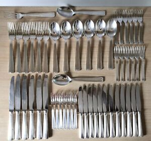 French Silver Plated Paul Dewallens 51 piece cutlery set NO Ercuis NO Christofle