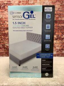 """SensorGel Luxury ICOOL 1.5"""" Gel-Infused Memory Foam Full Mattress Topper"""