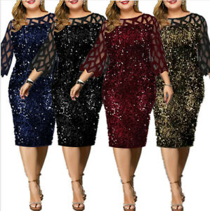 Plus Size Women Party Sequin Dress Sexy Mesh Sleeve Wedding Evening Party Dress