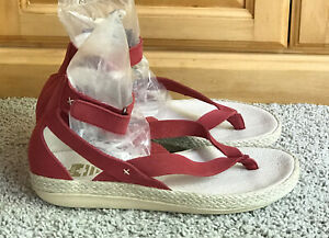 New Royal Canadian 'Peace River' Red Leather Gladiator Espadrilles Sandals Sz 7M