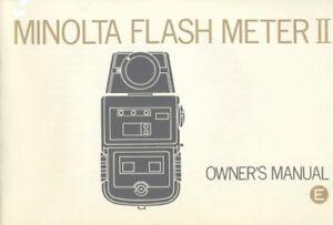 Minolta Flash Meter II Instruction Manual Original