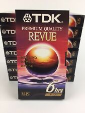 TDK VHS Revue Video Tapes 6 Hour HS Premium Quality 8 pack New.