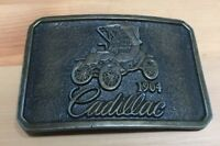 VTG 70's CADILLAC Brass Belt Buckle 1904 Buggy Car Stamped 858 *RARE* Buckle