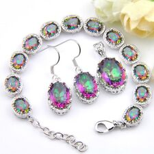 Shine Fire Colored Mystic Topaz Silver Chain Bracelets Necklace Earrings Sets