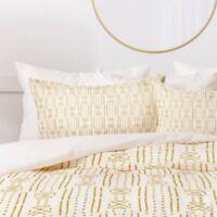Set of 2 Boho Style King Size Holli Zollinger Shams White Gold NEW