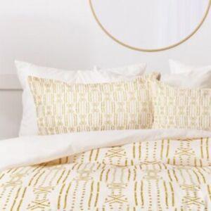 Set of 2 Boho Style King Size Holli Zollinger Pillow Shams White Yellow Gold NEW