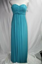 NWT JESSICA SIMPSON Teal Blue Matte Jersey Strapless Formal Dress Gown Sz 6 Prom