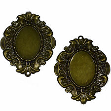 5 Bronze Oval Cabochon Frames 38x49mm Cameo Settings Jewellery Findings